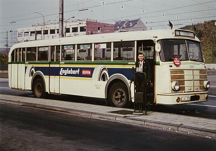 Wagen 3343, ein Krupp O 10 F4 mit Ludewig-Aufbau im Betriebshof Stadtmitte.