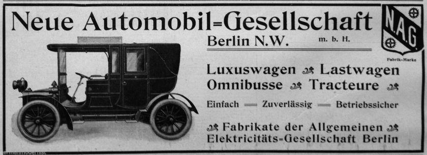 1903 Werbeanzeige 1903  NAG Automobil Gesellschaft Berlin  Vignette  Vintage Ad