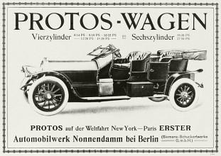 1908 Werbung für Protos-Wagen im Jahre 1908