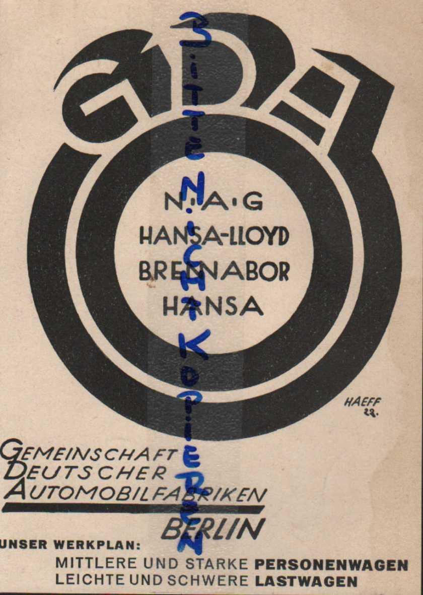 1924 BERLIN, Werbung  Anzeige 1924, GDA NAG Hansa-Lloyd Brennabor Hansa Automobil