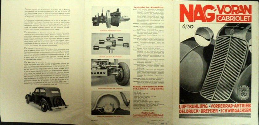 1933 Nag Voran Cabriolet Auto Sales Leaflet German Text ORIGINAL ..