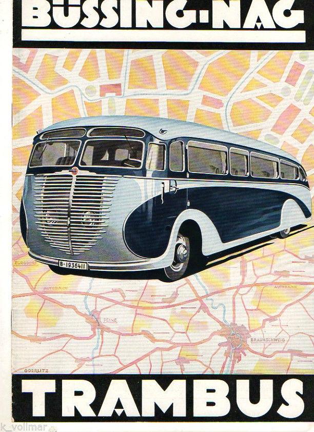 1938 Altes Büssing NAG Trambus Technisches Daten Prospekt BUS ca.1938 Französisch