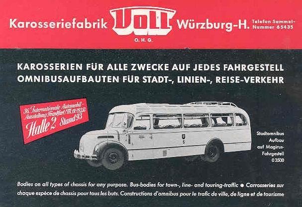 1938 Opel Magirus Deutz Karosseriefabrik VOLL Würzburg