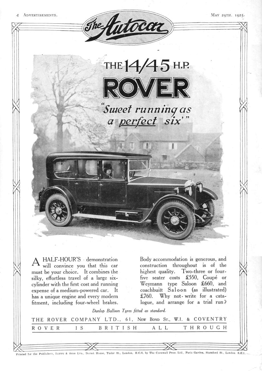 1925 Rover 14-45 Motor Car Autocar Advert