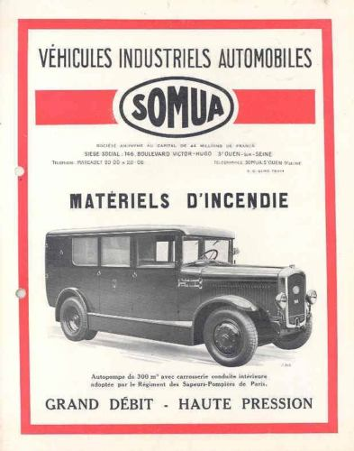 1930 Somua Pumper Fire Truck Sales Brochure France wj7916-WSRCRZ