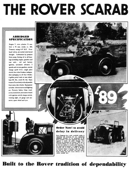 1932 rover scarab ad