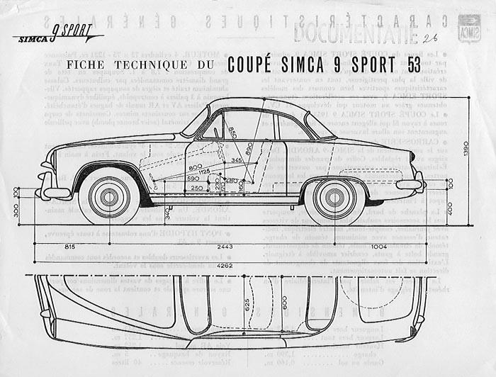 1953 simca 9 sport tek