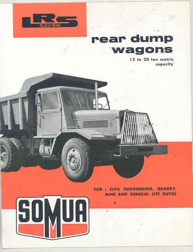 1956 SOMUA SAVIEM LRS 12 20 ton mining construction dump truck brochure