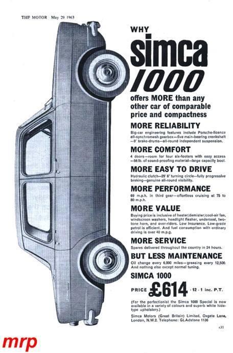 ... 1965 Simca 1000 ad ...