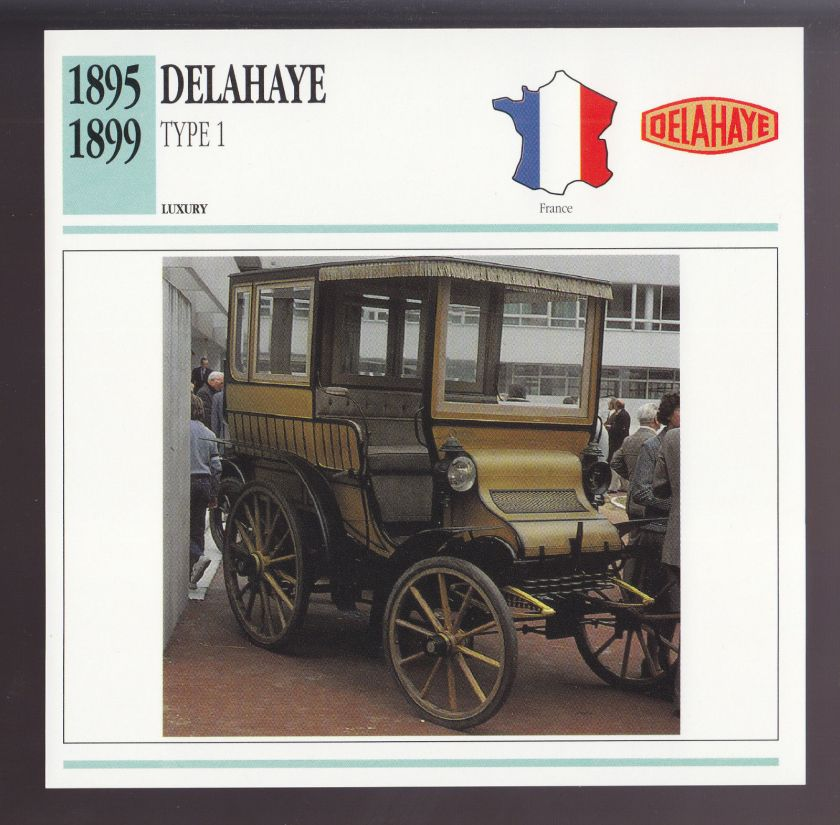 1895-1899 Delahaye Type 1 France Car Photo Spec Sheet Info CARD 1896 1897 1898