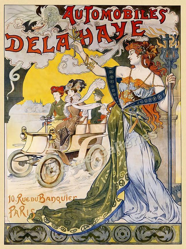 1898 Automobiles Delahaye Vintage Style Paris Auto Poster