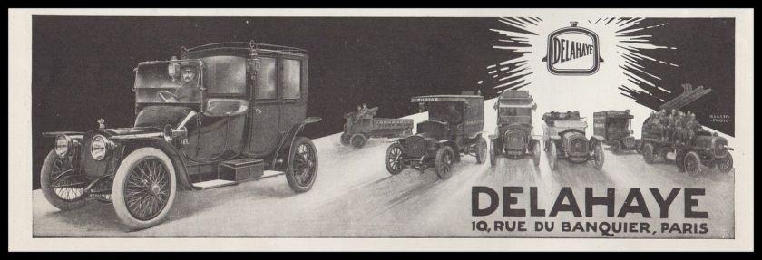 1913 PUBLICITE AUTOMOBILES VEHICULES DELAHAYE AD 1913 - 12G