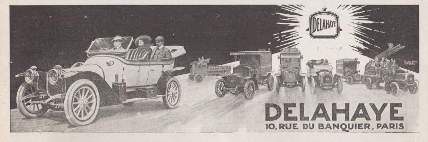 1913 PUBLICITE AUTOMOBILES VEHICULES DELAHAYE AD 1913 - 1Hb
