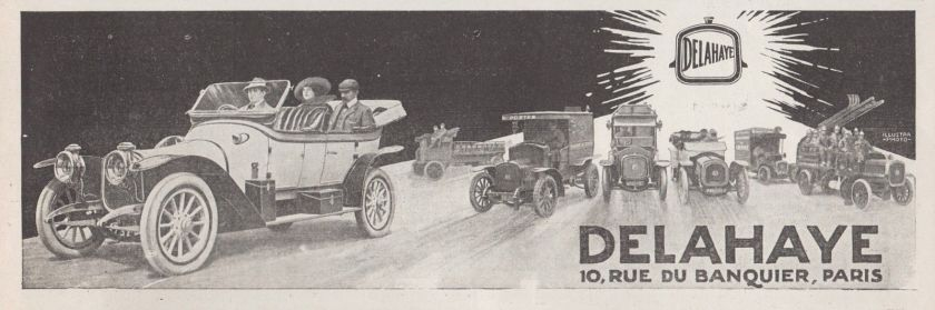 1913 PUBLICITE AUTOMOBILES VEHICULES DELAHAYE AD 1913