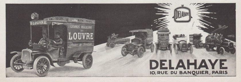 1913 PUBLICITE AUTOMOBILES VEHICULES DELAHAYE GRANDS MAGASINS DU LOUVRE AD 1913