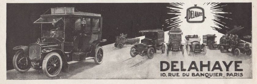 1913 PUBLICITE VEHICULES DELAHAYE TAXI CAR AD 1913