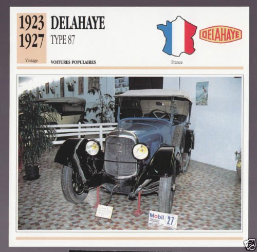1923-1927 Delahaye Type 87 10hp Car Photo Spec Sheet Info Stat French Atlas Card