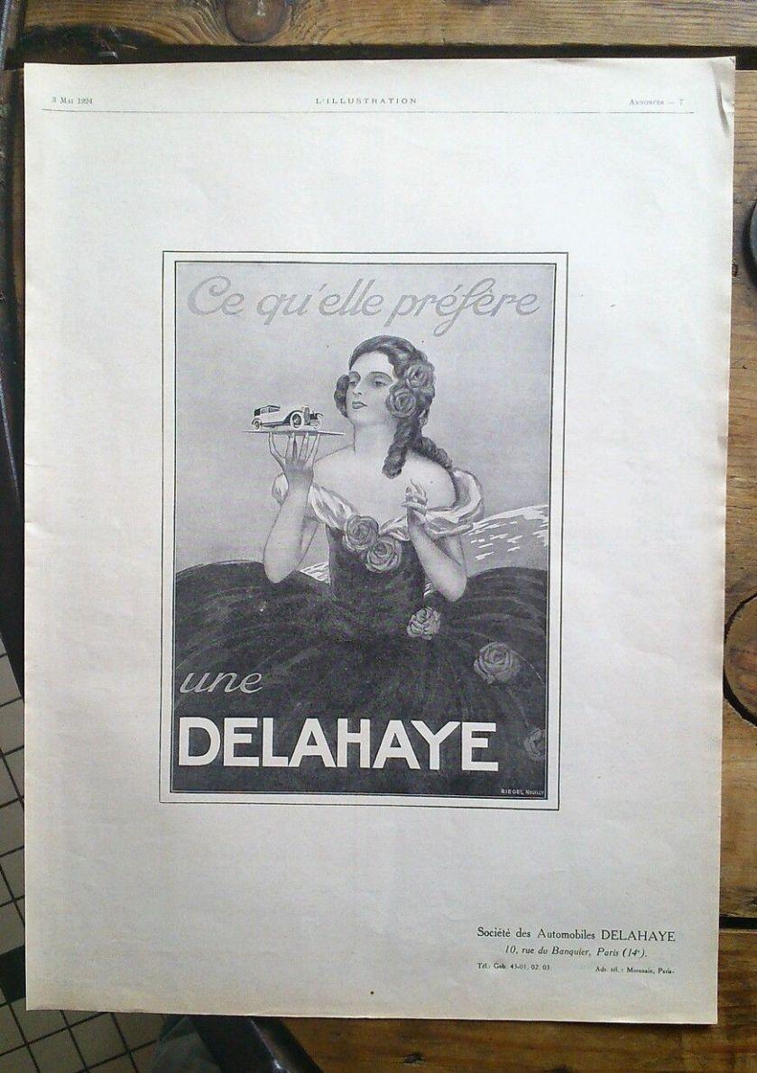 1924 ANCIENNE PUBLICITE 1924 DELAHAYE AUTOMOBILE VOITURE