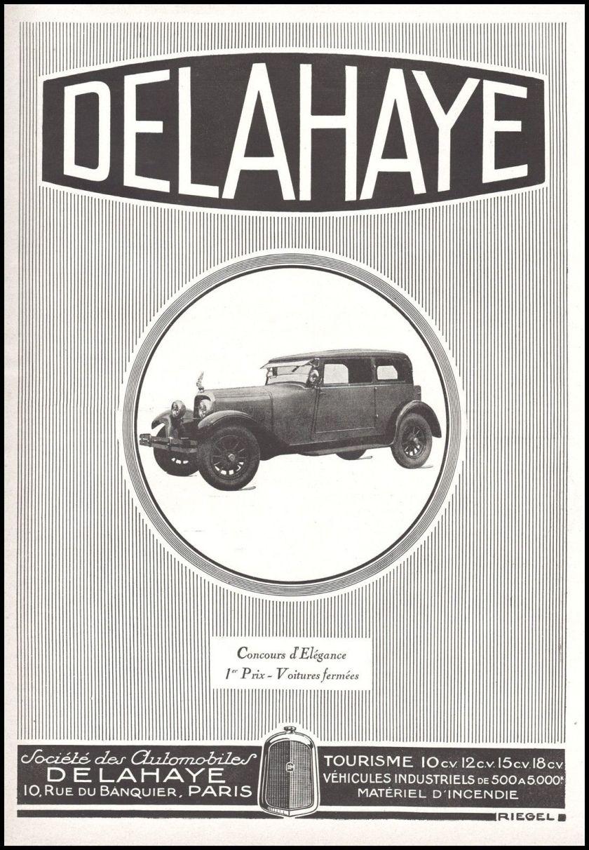 1926 Publicité Automobile Delahaye car vintage print ad 1926