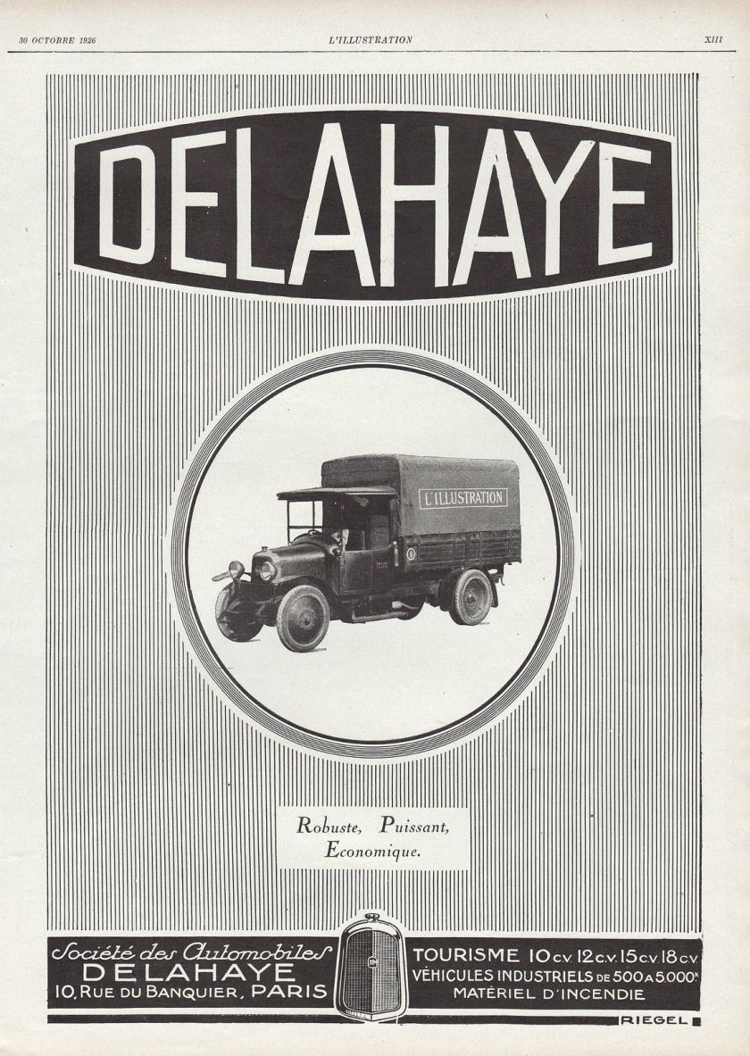 1926 Publicite Camion Delahaye Truck AD 1926 1G