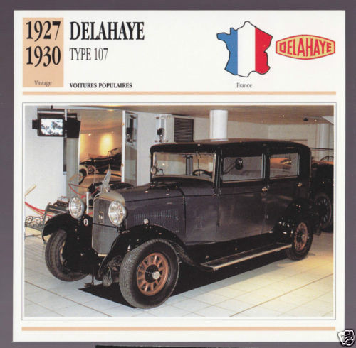 1927-1930 Delahaye Type 107 Car Photo Spec Sheet Info Stat French Card 1928 1929