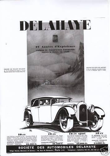 1927 Publicité Ancienne Voiture DELAHAYE Profil 1927
