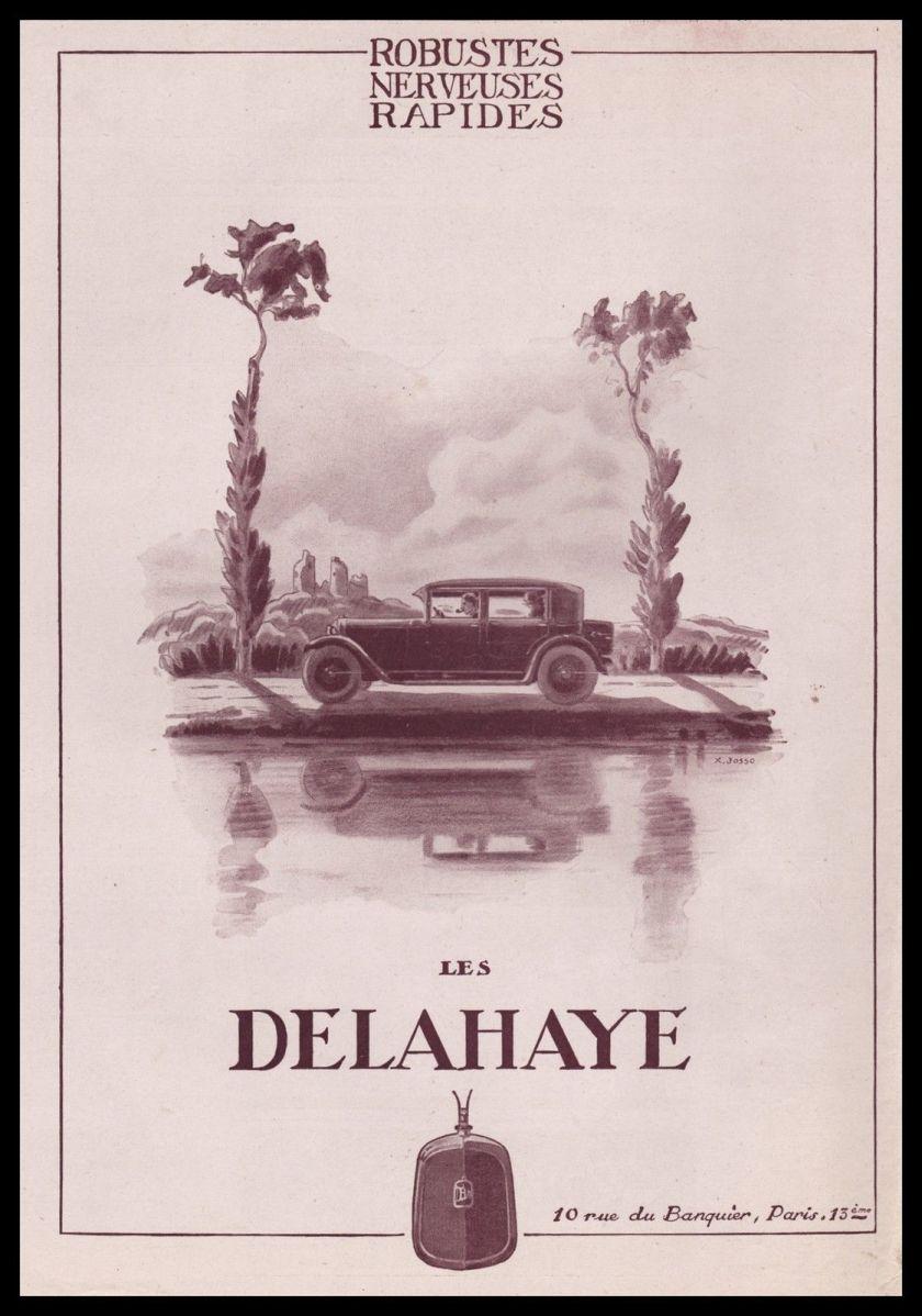 1927 Publicité Automobile Delahaye car vintage ad 1927