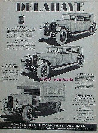 1927 PUBLICITE AUTOMOBILE DELAHAYE 10 CV 12 CV SPORT 16 CV CAMION DE 1927 FRENCH AD