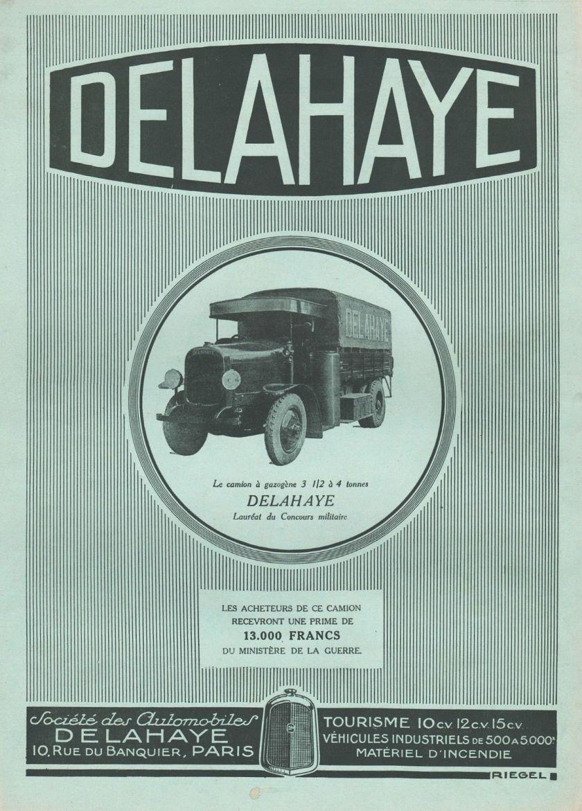 1927 PUBLICITE CAMION A GAZOGENE DELAHAYE POIDS LOURDS TRUCK AD 1927 11G
