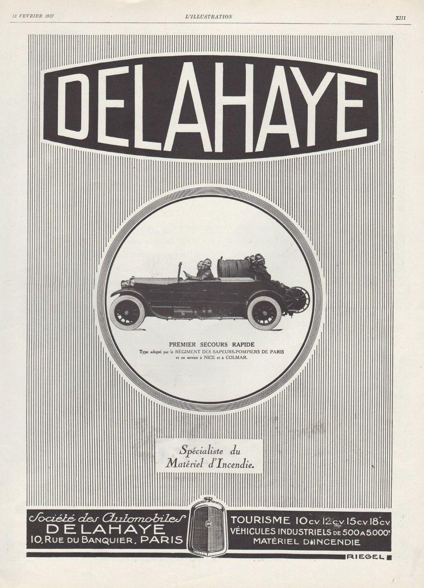 1927 PUBLICITE VOITURE DE POMPIER DELAHAYE CAMION DE POMPIERS FIREMEN AD 1927