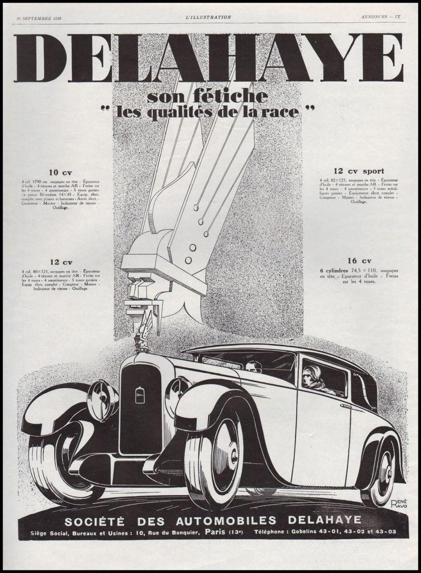 1928 Publicité Automobile Delahaye Mascot car Mascotte vintage print ad 1928