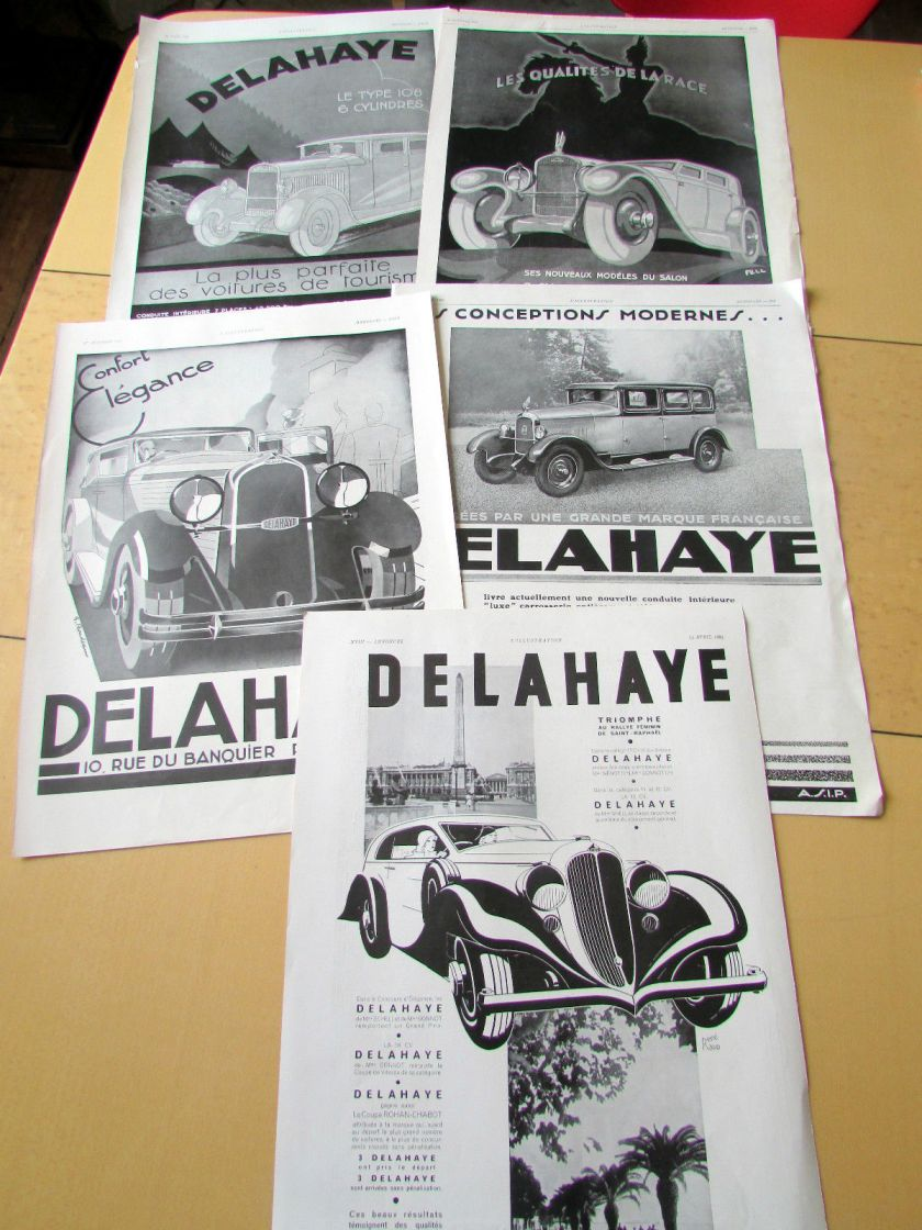 1929-34 DELAHAYE 5 PUBLICITES 1929 1934 LOT 40 AUTOMOBILE PUBLICITE ANCIENNE