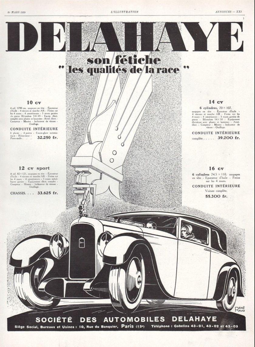 1929 Publicité Automobile Delahaye mascotte mascot car vintage print ad 1929