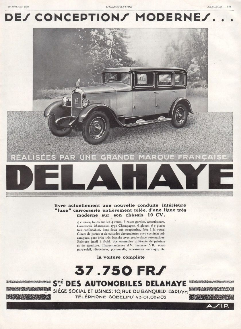 1929 PUBLICITE AUTOMOBILE DELAHAYE CAR AD 1929