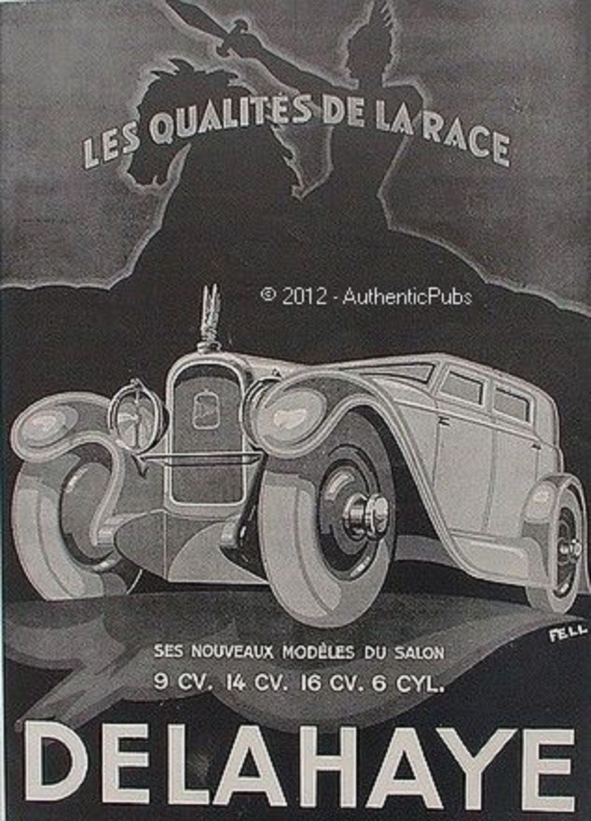 1929 PUBLICITE AUTOMOBILE DELAHAYE CHEVALIER SIGNE FELL DE 1929 FRENCH AD ART DECO