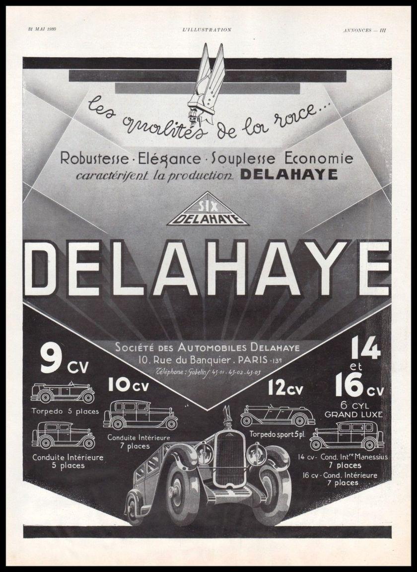 1930 Publicité Automobile Delahaye car vintage print ad 1930 - 6