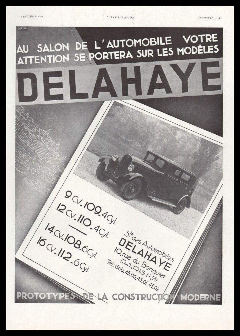 1930 Publicité Automobile Delahaye car vintage print ad 1930 a
