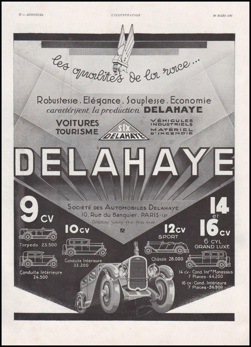 1930 Publicité Automobiles Delahaye car vintage print ad 1930
