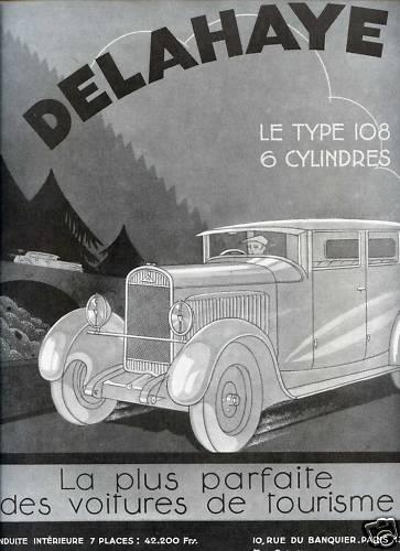 1931 Publicité Automobile - DELAHAYE Type 108 6 Cyl