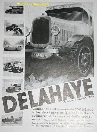 1931 PUBLICITE ANCIENNE DE 1931 AUTOMOBILE DELAHAYE CAMION POMPIERS CAR TRUCK AD