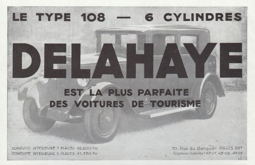 1931 PUBLICITE AUTOMOBILE DELAHAYE TYPE 108 CAR AD 1931