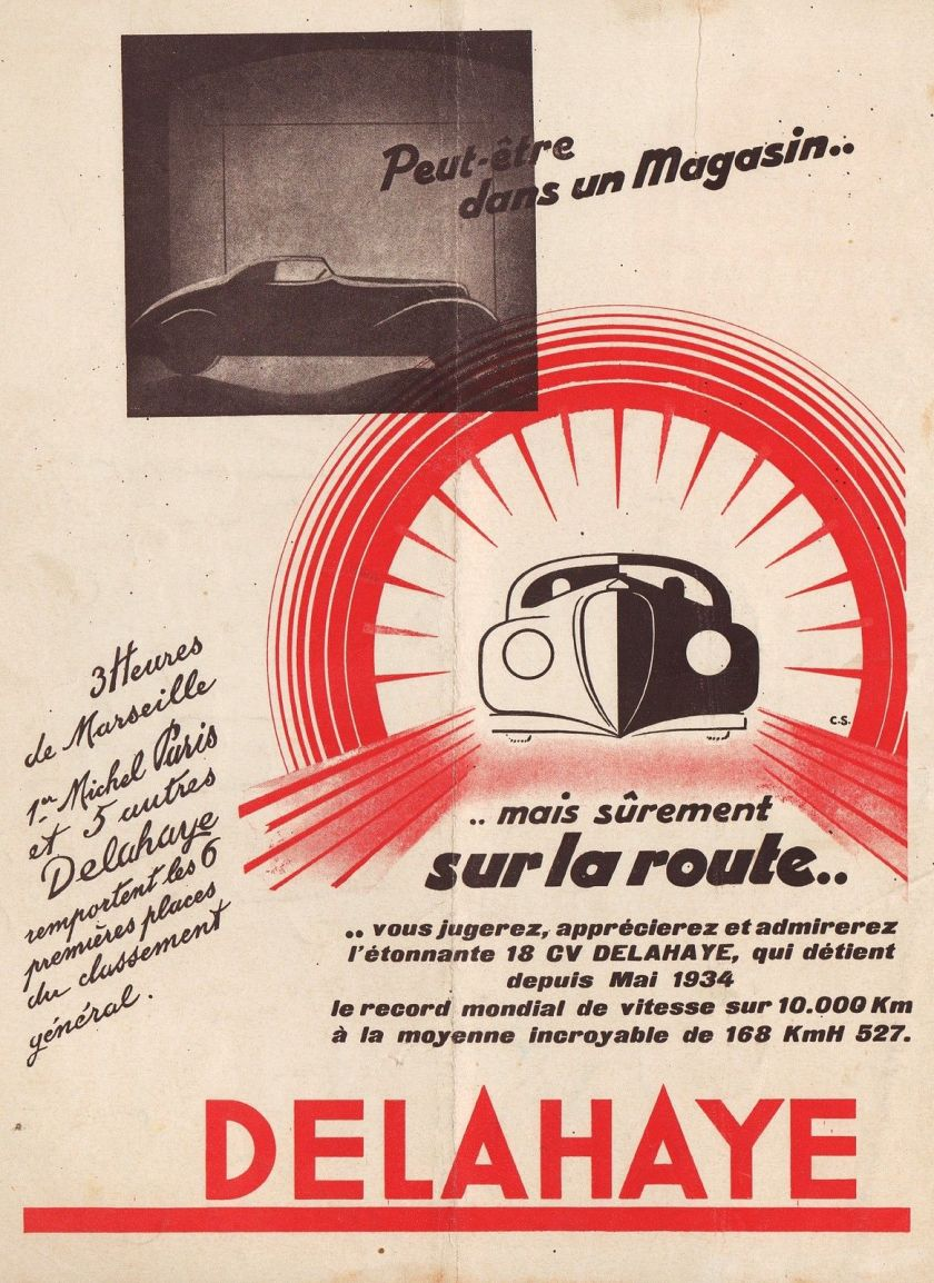 1932 PUBLICITE AUTOMOBILE DELAHAYE CAR AD 1932 2E