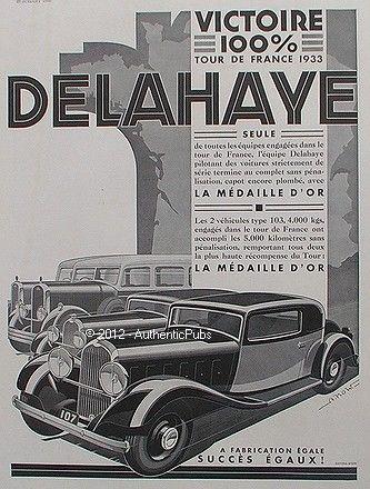 1933 PUBLICITE AUTOMOBILE DELAHAYE VICTOIRE TOUR DE FRANCE MEDAILLE D'OR DE 1933 AD