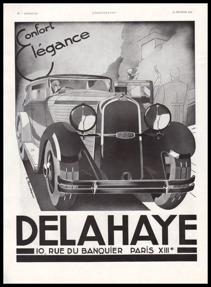 1933Publicité Automobile Delahaye car ad 1933