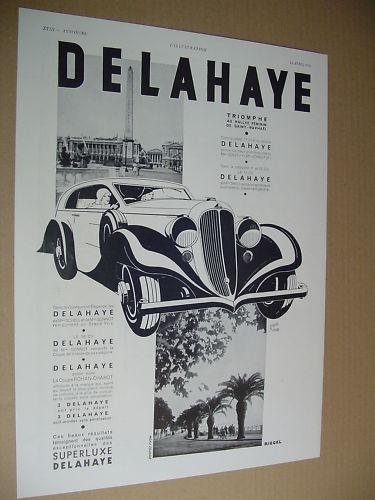 1934 DELAHAYE..PUBLICITE PRESSE 1934..( automobile )