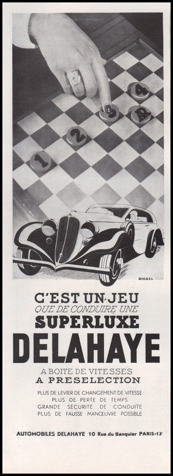 1934 Publicité Automobile Delahaye Superluxe car vintage print ad 1934