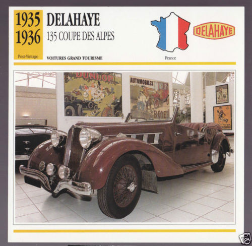 1935-1936 Delahaye 135 Coupe des Alpes Car Photo Spec Sheet Stat French Card
