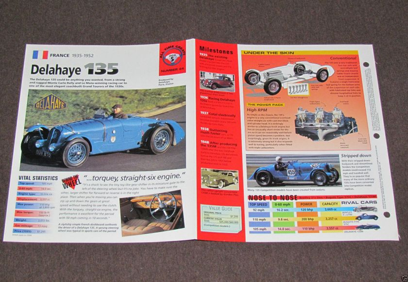 1935-1952 (1938) DELAHAYE 135 Car PHOTO SPEC SHEET BROCHURE BOOKLET a