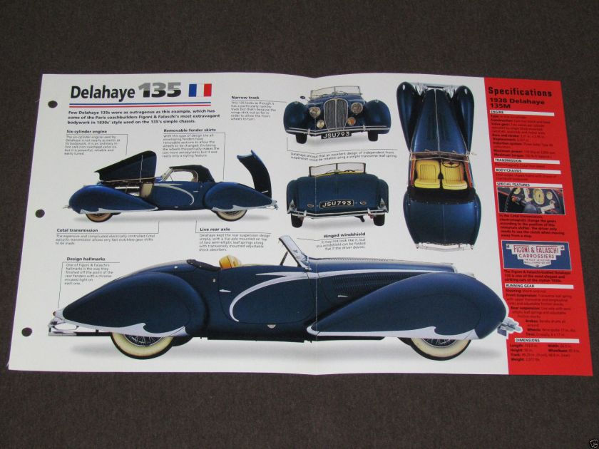 1935-1952 (1938) DELAHAYE 135 Car PHOTO SPEC SHEET BROCHURE BOOKLET