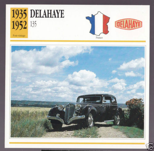 1935-1952 Delahaye 135 (1936 Coupe des Alpes) Car Photo Spec Sheet French Card